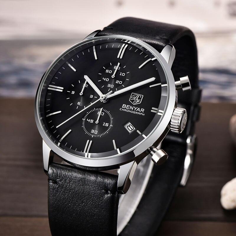 Relojes BENYAR para hombre, relojes de lujo de marca Gold Quartz para hombre, cronógrafo para hombre, reloj de moda de cuero resistente al agua, reloj - 6