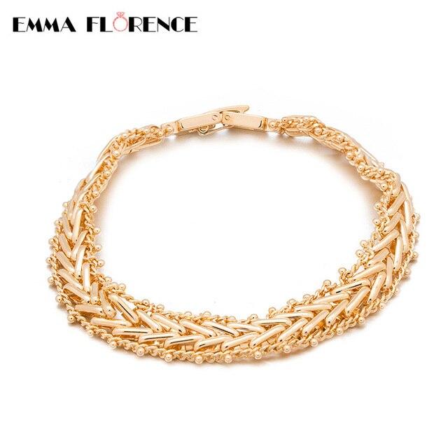 db03e7c1efcb Moda de oro espiga de trigo trenzado estilo único cadena WRAP pulsera  cadena cuerda del encanto