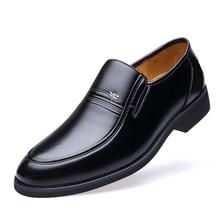 Luxury Brand Genuine Sheepskin Leather Fashion Men Business Shoes Black Oxfords High Quality Breathable Formal DA042