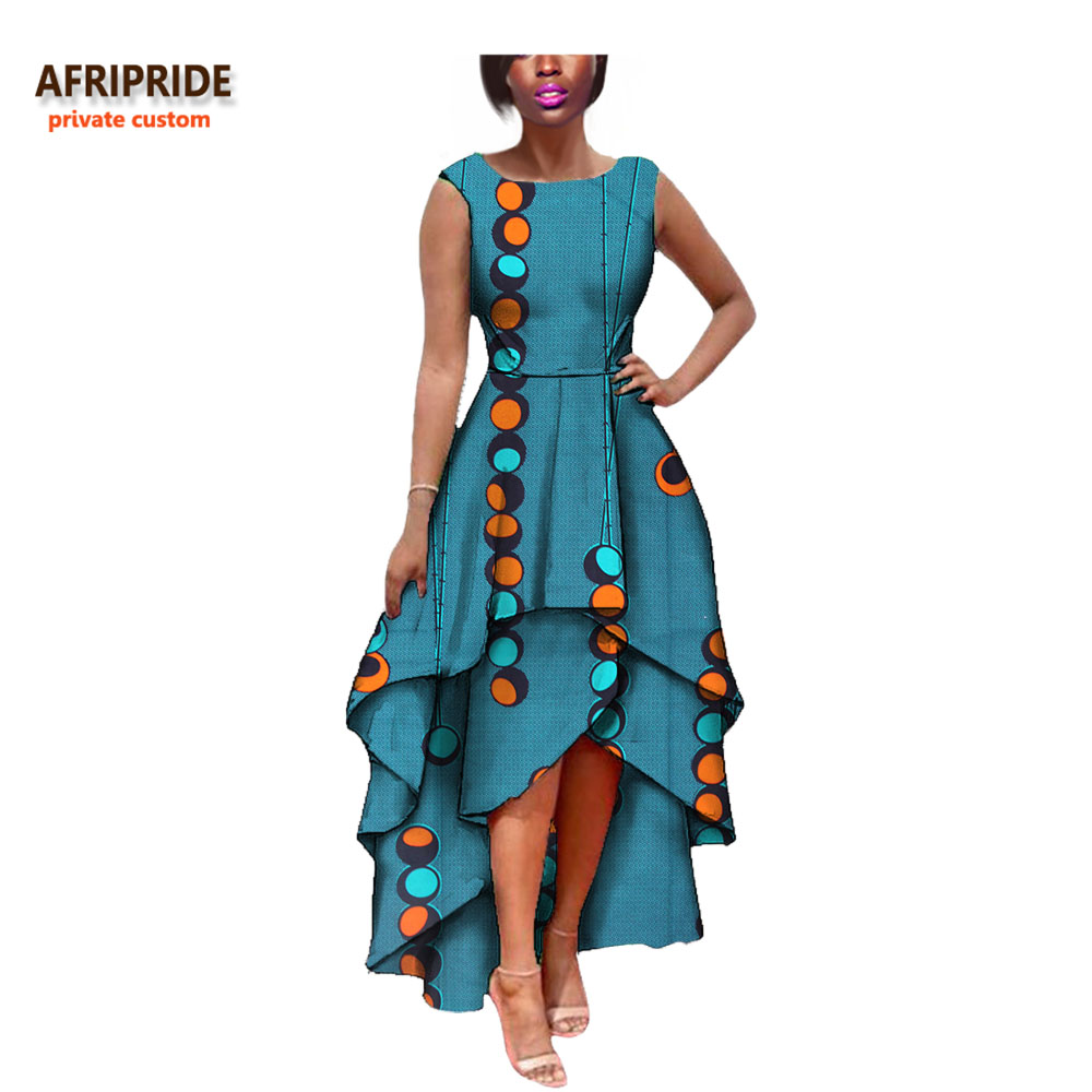 2018 hot sale african dress for women AFRIPRIDE private custom sleeveless pleated party dress 100% pure wax cotton A722582