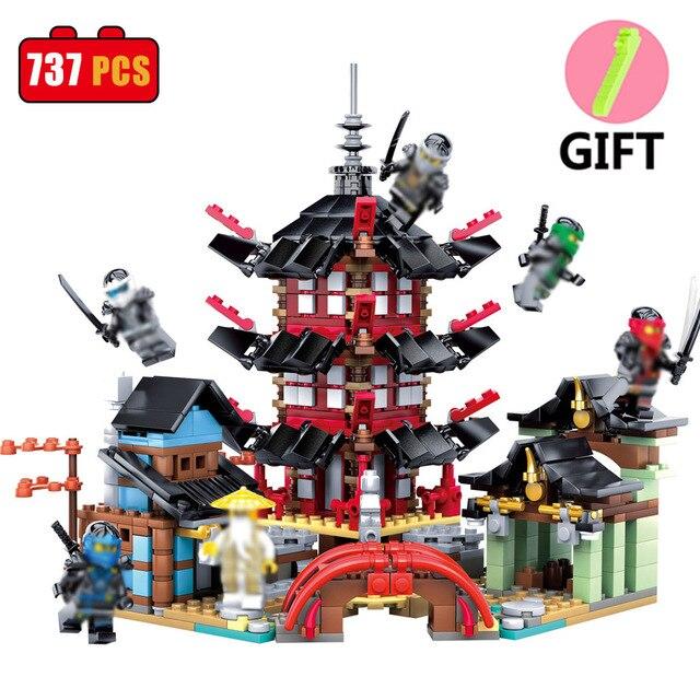 b0ca5e5b52 737 PZ Ninjaos Tempio di Ninjagoes Blocks Set Giocattoli Compatibile Lego  Ninjago Movie Giocattoli Edificio di