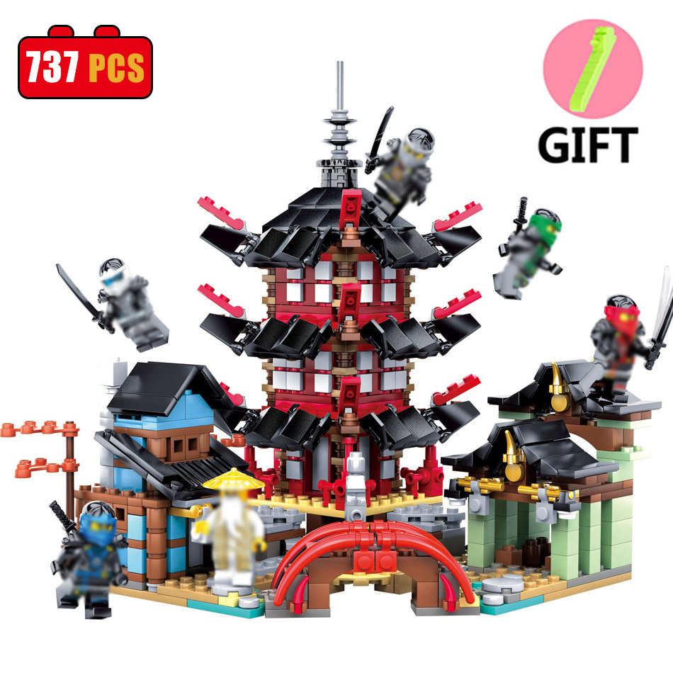 737PCS Ninjaos Temple of Ninjagoes Blocks Set Toy Compatible Legos Ninjago Movie Building Brick Toys For Children Christmas Gift compatible with lego ninjagoes 70596 06039 blocks ninjago figure samurai x cave chaos toys for children building blocks