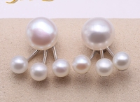 Exquisite 9mm & 4.5mm White Freshwater Pearl Stud Earrings in Sterling Silver