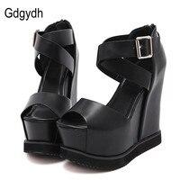 Gdgydh Summer Fashion Wedges Sandals Woman Black Open Toe Zipper Buckle Lady Sandals Soft Platform Leather 2018 New Party Shoes