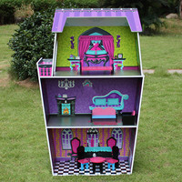 Куклы DIY Дом деревянные Большие весы дети роскошная мебель строительство, Вилла Набор игрушек 72x33x114 см безопасный нетоксичный краски творче