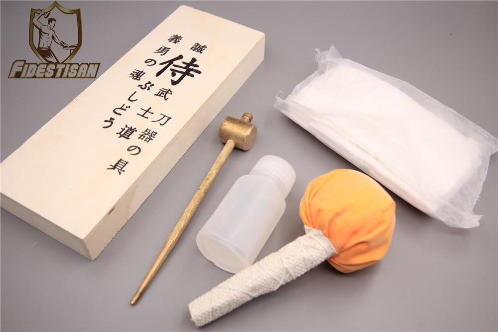 JAPANESE SWORD MAINTENANCE TOOLS SET IN WOODEN BOX