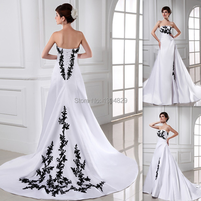 2015 Western Black And White Wedding Dresses A line Strapless ...