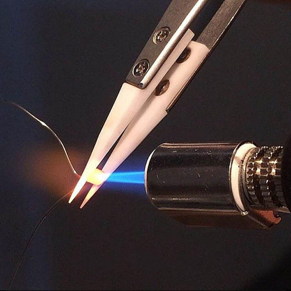 Stainless Steel Tweezers Heat Resistant Non Conductive Ceramic Pointed Tip DIY Tweezer