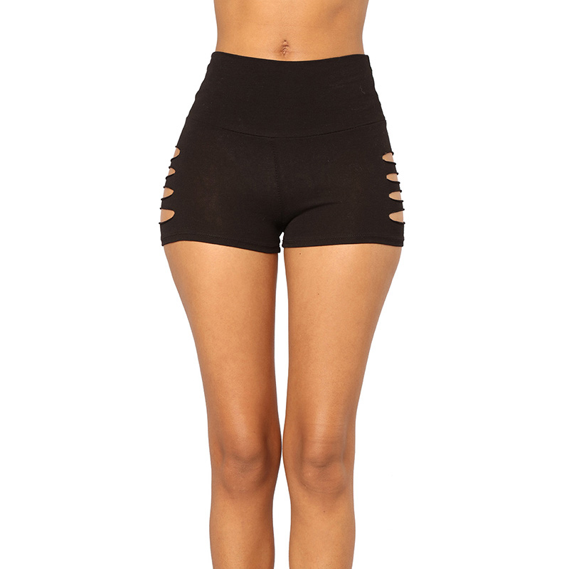 Shorts Elastic-Waist Mid-Waist-Sporting Sexy Black Summer Women Hollow-Out
