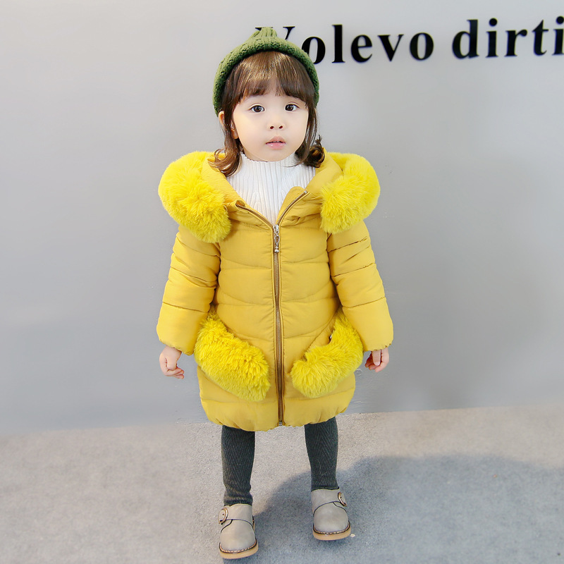 Girls cotton new autumn and winter girls fur collar padded cotton long paragraph jacket autumn winter cotton jacket women clothing 2017 new fur collar cotton jacket to keep warm long paragraph women clothing ls148