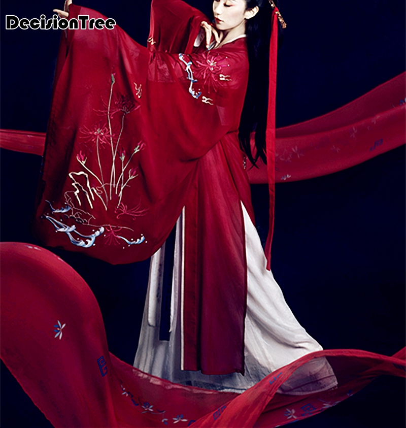 2019 Hanfu Women's National Clothes Chinese Ancient Female Costume Red Lady Chinese Stage Hanfu Coat