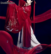 2019 hanfu womens national clothes chinese ancient female costume red lady stage coat