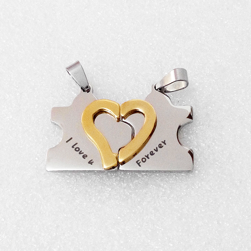 Apparel versatile fashion love puzzle pendant couple necklace Valentines Day jewelry
