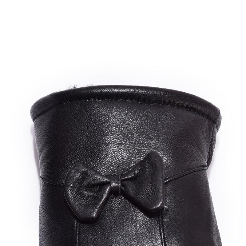 Kvinnors läderhandskar för vinter äkta pälsfoder Guantes Mujer - Kläder tillbehör - Foto 6