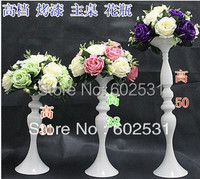 50cm High European Classical White Candle Stick Wrought Iron Candlesticks With Flower Ball