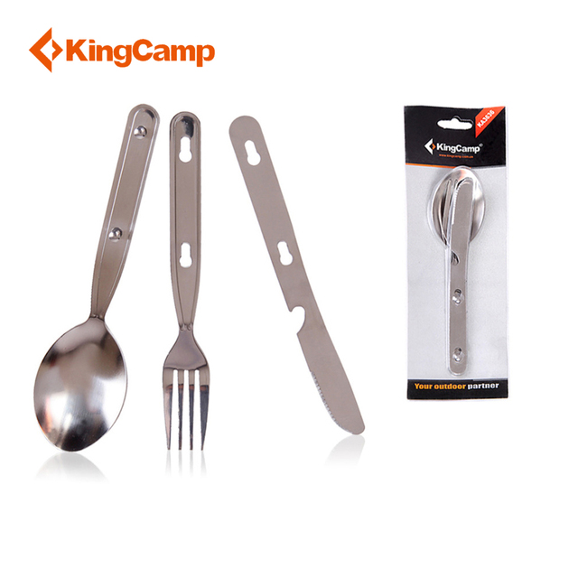 KingCamp Camping Cookware Outdoor Stainless Steel Mess Kit-Spoon Fork & Knife Set for Camping & Trekking & Hiking Dinner Set