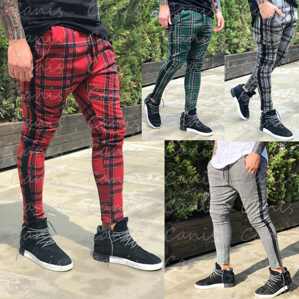 Hot Sales Men's Long Casual Sport Pants Slim Fit Plaid Trousers Running Joggers Sweatpants High Quality And Comfortable