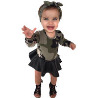 New Baby Girls Dresses Gaueey Camouflage Kids Dresses For Girl PU Leather Children Dress Headband Spring
