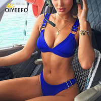 Oiyeefo Brazilian Bikini Set 2018 Sapphire Blue Maroon Black Swimsuit Female Swimwear Two Piece Swimming Suits