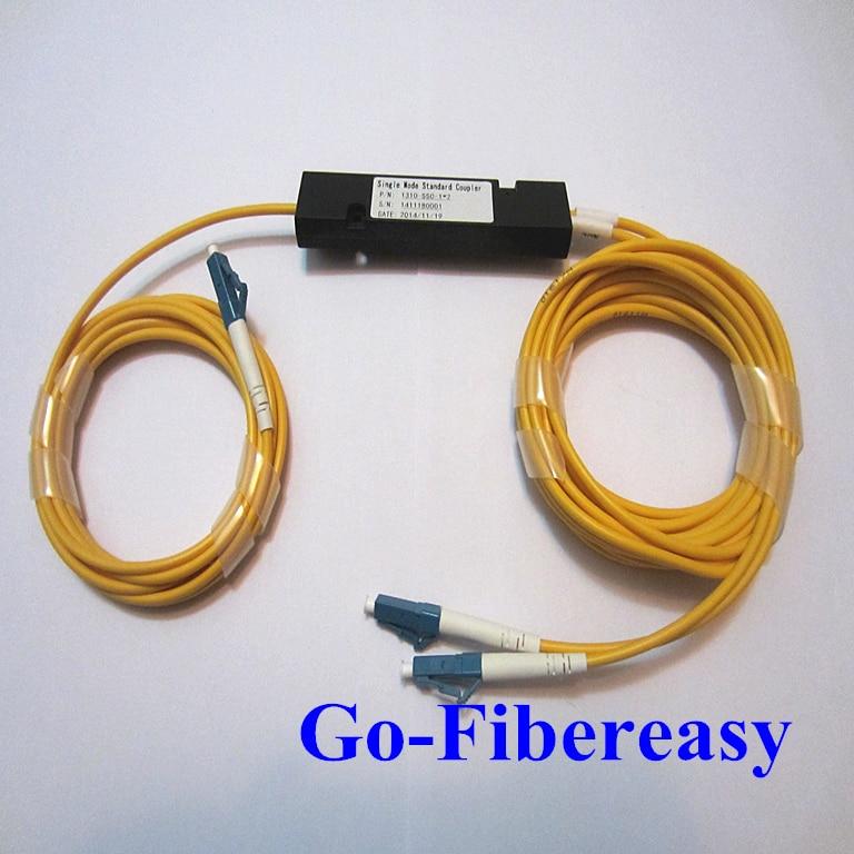 1pcs FTTH 1x2 PLC Splitter Optic Coupler Box Module LC/UPC Connector 1.5meters Optical Divide Ratio 50%-50%
