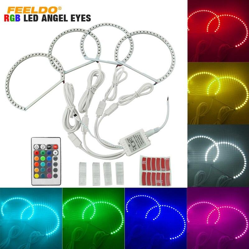 FEELDO 1set Car 5050SMD LED RGB Flash Angel Eyes Halo Ring Light for BMW E46 3
