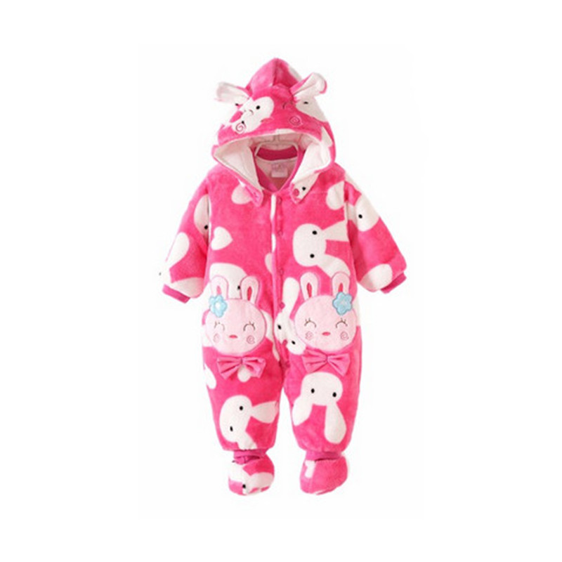 0~12M Winter Baby Rompers Snowsuit Flannel Thick Snow Wear Pink Sheep Rabbit Panda Winter Baby Clothing Infant Jumpsuits V20