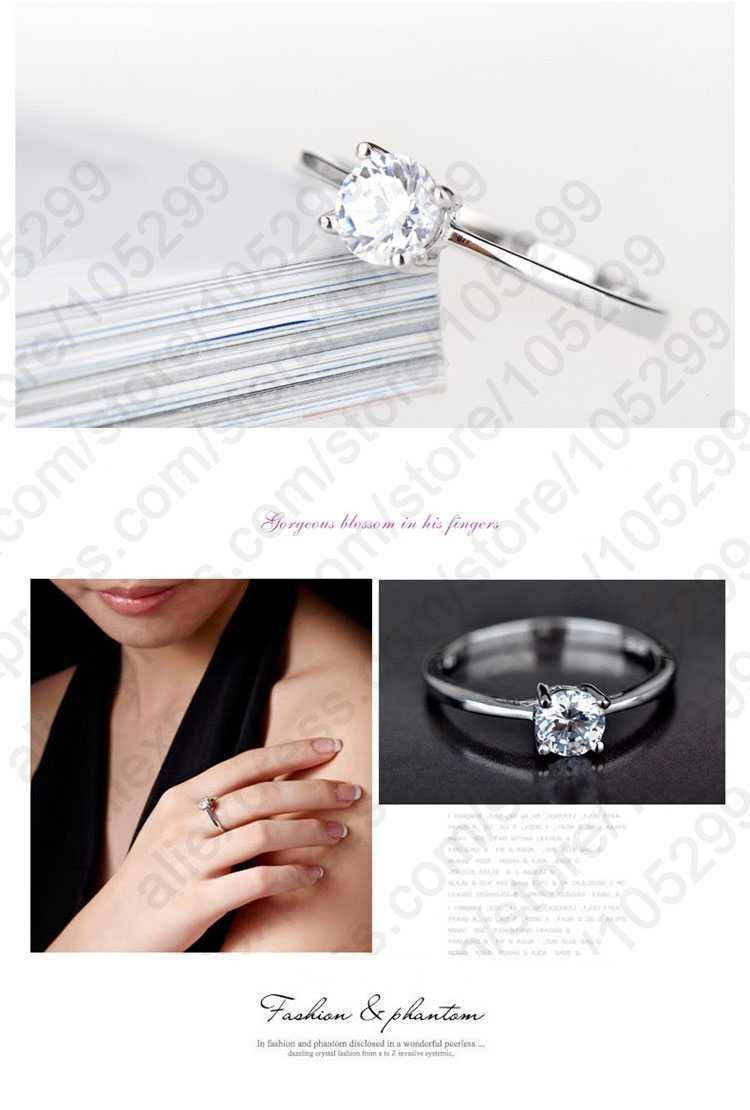 ผู้หญิงแฟชั่น 925 Serric Silver แหวนเครื่องประดับสำหรับงานแต่งงาน/การนัดหมายขายใหญ่แหวน 4 Prongs Cubic Zirconia