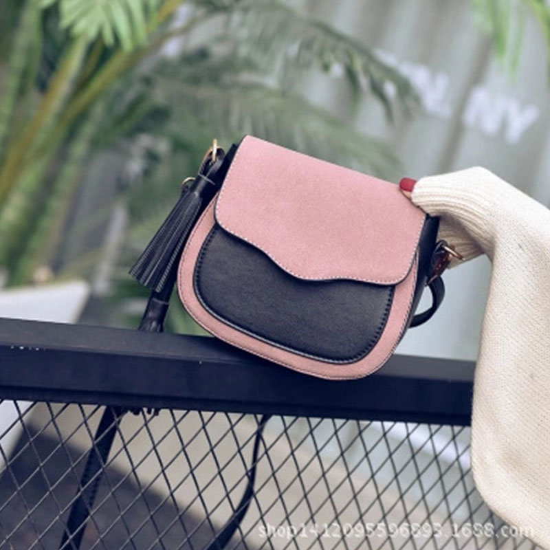 Women PU Leather Saddle Bag Retro Bohemian Fringe Soft Cute Mini Crossbody Over Shoulder Bag Split Joint Dull Polish Bag