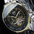 Dial grande Reloj Mecánico Fecha Famosa Marca de Fábrica Superior de Acero Inoxidable Grande de Oro Flying Tourbillon Relojes Automático de Los Hombres