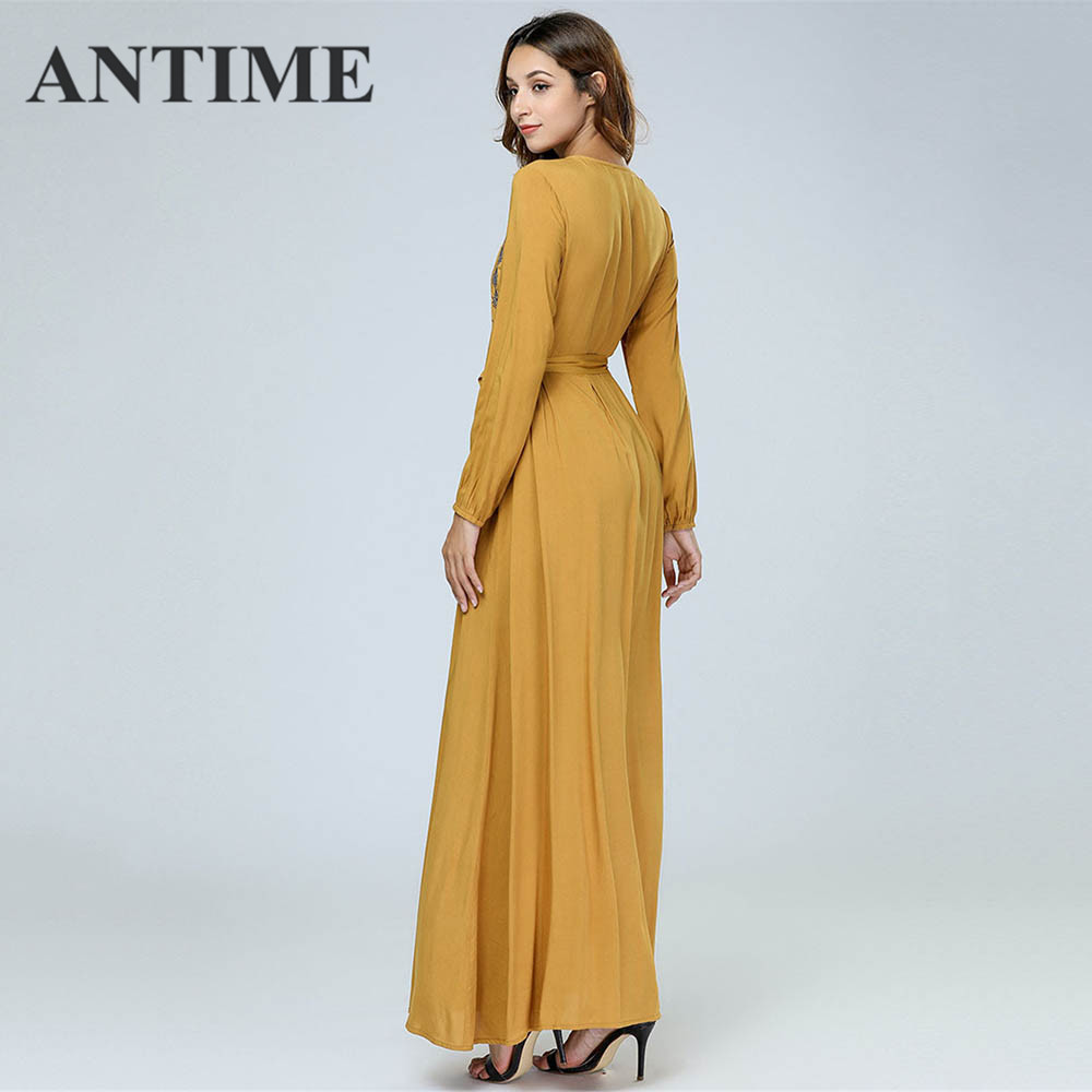 ANTIME Casual Maxi Dresses Women New Streetwear O-Neck Autumn Winter Button Sashes A-Line Long Sleeves Elegant Gold Dress 5