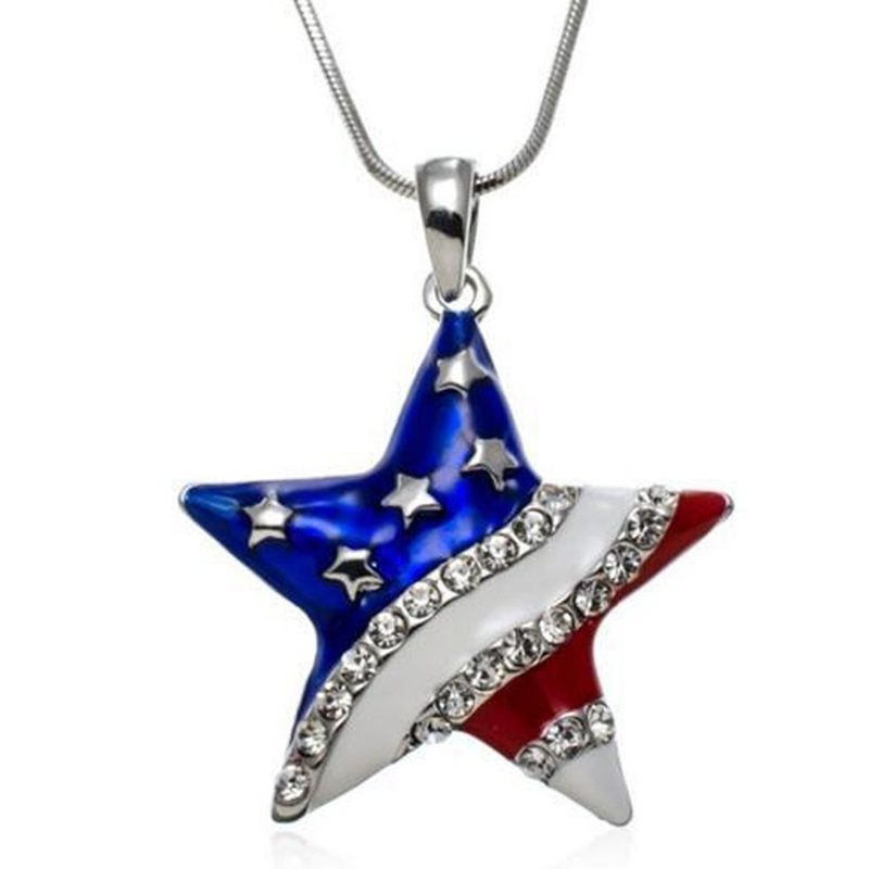 Hot sale independence day american usa flag star design diamante hot sale independence day american usa flag star design diamante pendant patriotic necklace fashion jewelry in pendant necklaces from jewelry accessories aloadofball Images