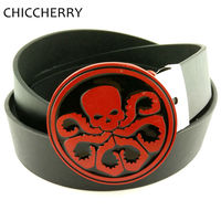Cool Men S Black PU Leather Belt With Agents Of S H I E L D