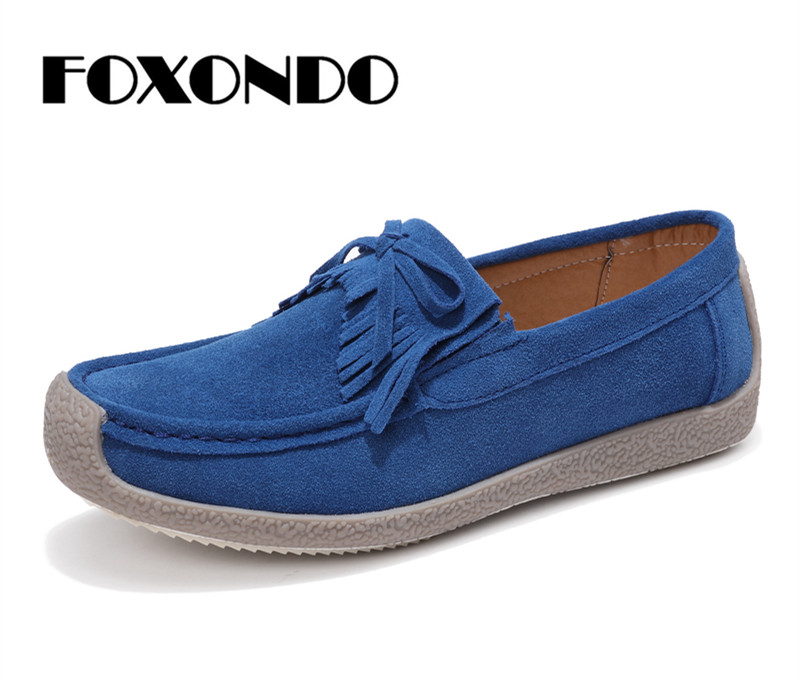 FOXONDO 2019 Autumn women flats   leather     suede   slip on fringe loafers shoes ballet flats cowhide flexible fur boat oxford shoes