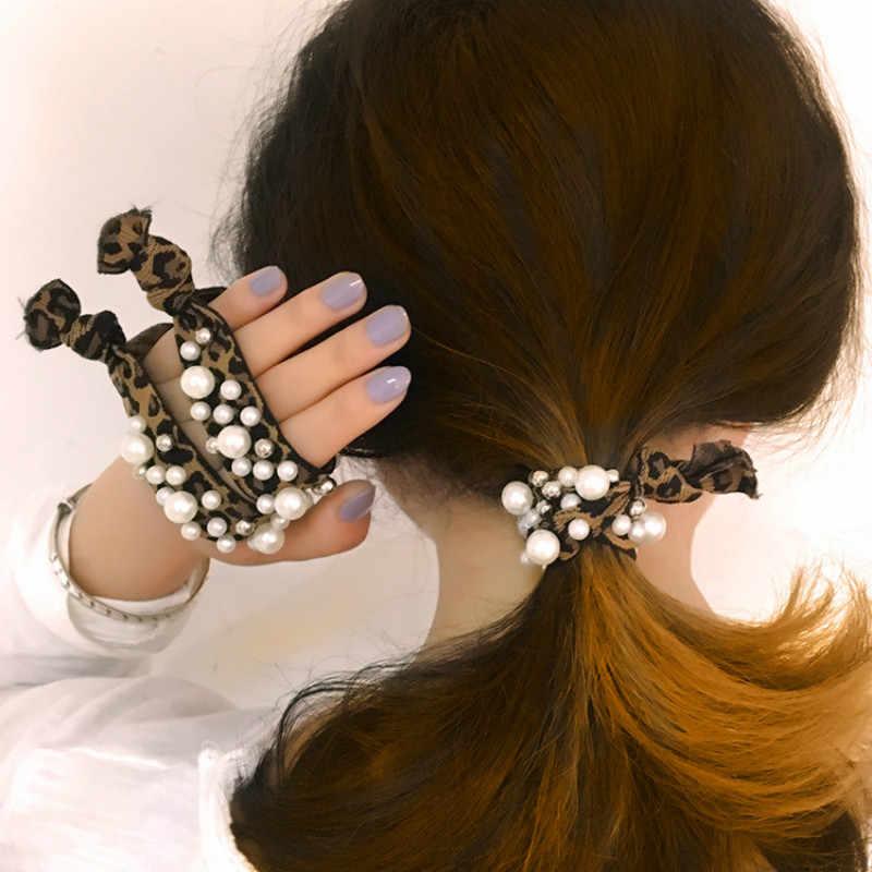 1 pcs/שיער נמר דפוס למבוגרים כיסוי ראש צמיד שימוש כפול פשוט עניבת שיער חיקוי פרל ראש חבל גומי להקת נשי אופנה