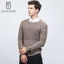 Glestore 2017 New Mens Flat Knitted O-neck Sweater Long Sleeved Cotton Striped Male Pullovers Brand-clothing Twisted Flower