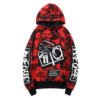 Loldeal Camouflage Patch Hoodies Mens 2018 Autmn Designs Camo Printed Sleeve Pullover Sweatshirts Male Hip Hop