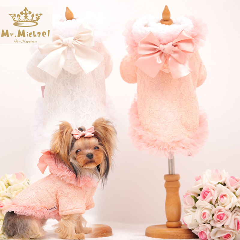 lovely Warm pink <font><b>winter</b></font> <font><b>Dog</b></font> pet Tutu Princess wedding <font><b>Dress</b></font> <font><b>Winter</b></font> small <font><b>dog</b></font> fleece chihuahua cotton padded jacket clothes image
