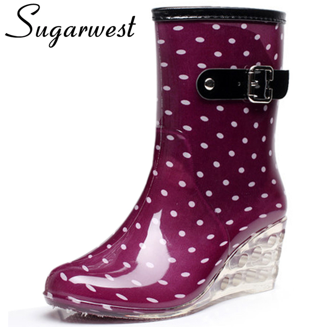 Sugarwest Botas Mujer 8 Styles Wedges Rain Boots Women Dot Rainboots Round Toe Buckle Mid Calf Platform Shoes Women Boots WW787