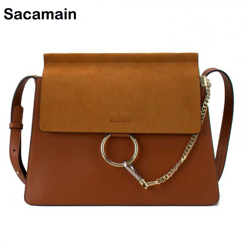 Sacamain Brand Genuine Leather Crossbody Bag Designer Women Famous Brands Real Matte Leather Messenger Bag With Ring And Chain