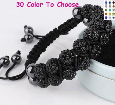 3pcs//lot 10mm Double row white resin pearl hot Beads Crystal Shamballa Bracelet