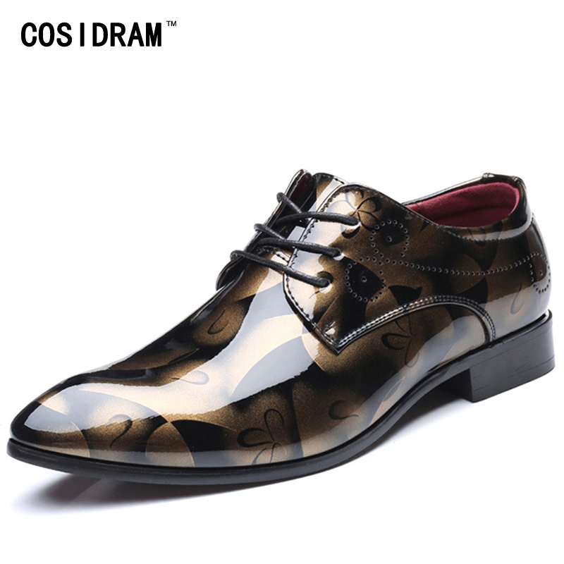 COSIDRAM Patent Leather Oxford Shoes For Men Dress Shoes Men Formal Shoes Pointed Toe Business Wedding Plus Size 49 50 RME-308