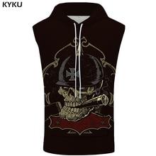 KYKU Brand Skull Sleeveless Hoodie Punk Hooded Hip Hop Coat Rock Sweatshirt Cigarette Shirt Vest Mens Clothing New 3d Print
