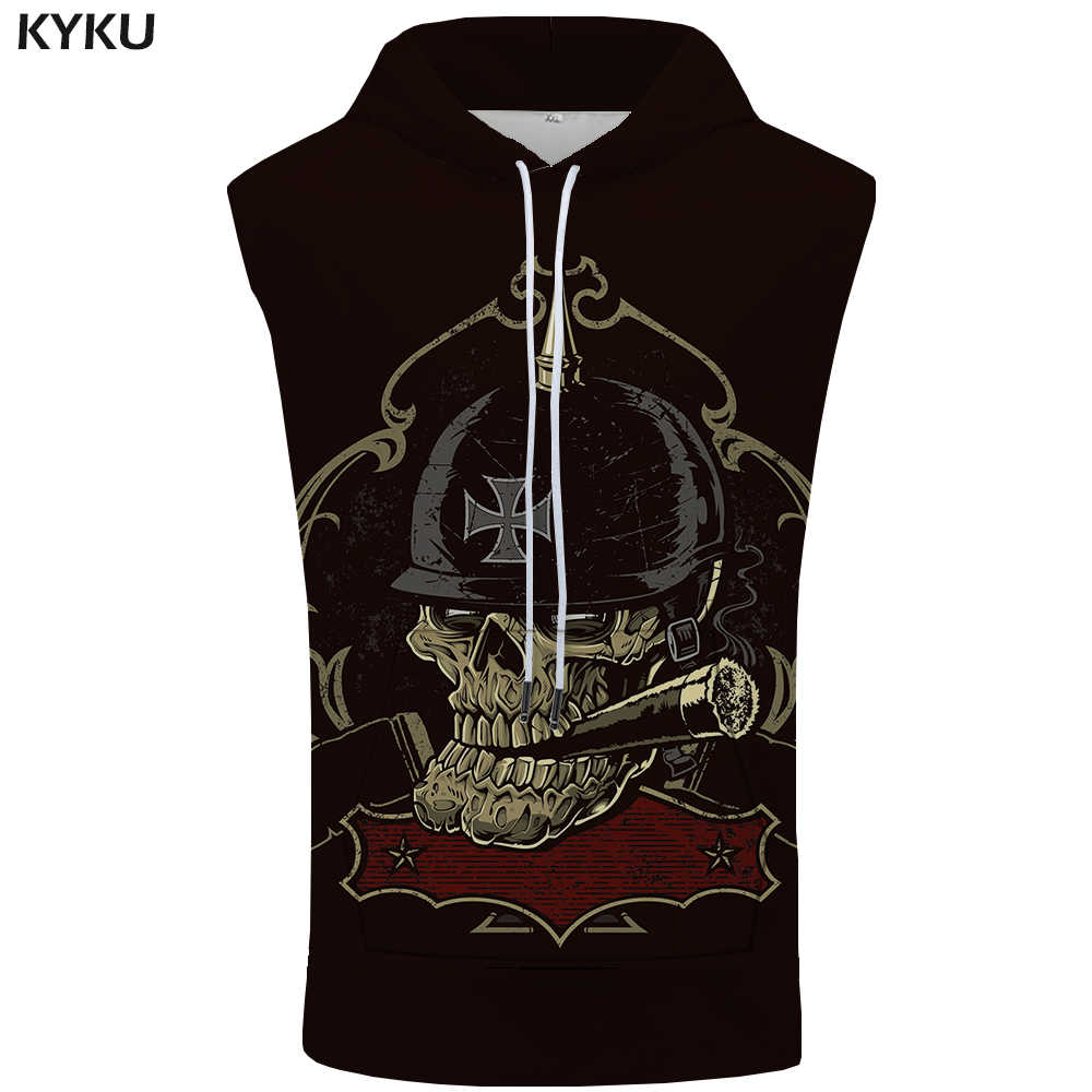 75d0d9356252de KYKU Brand Skull Sleeveless Hoodie Punk Hooded Hip Hop Coat Rock Sweatshirt  Cigarette Shirt Vest Mens