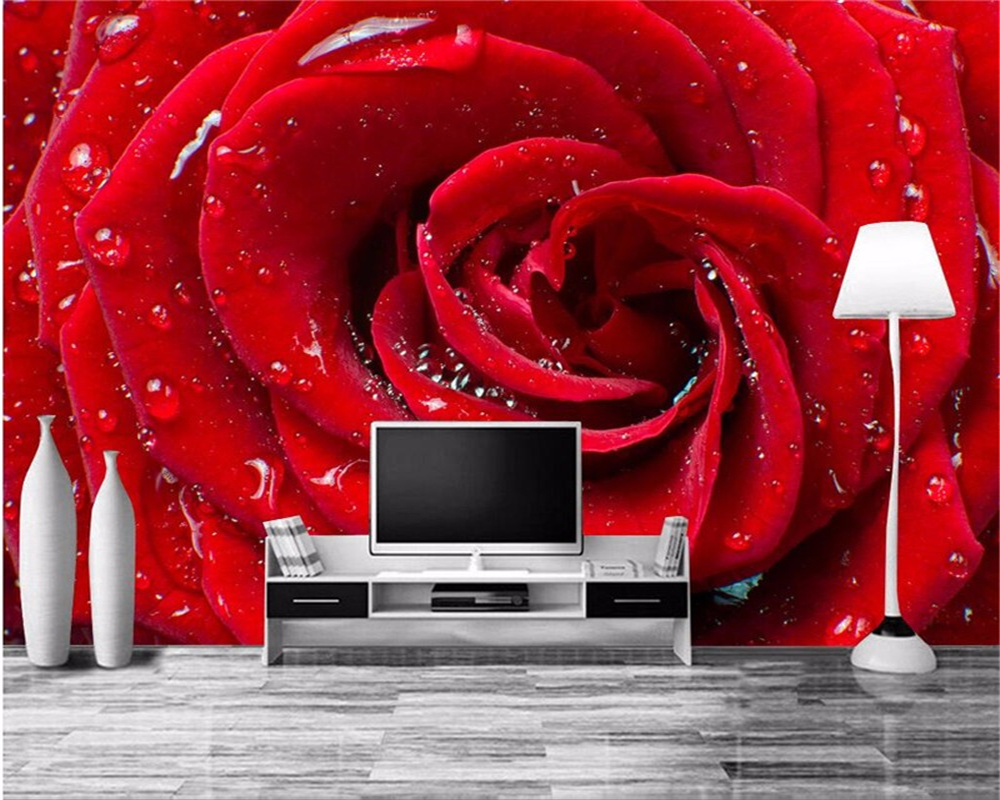 Red Wallpaper Designs For Living Room Compare Prices On Red Rose Wallpapers Online Shopping Buy Low