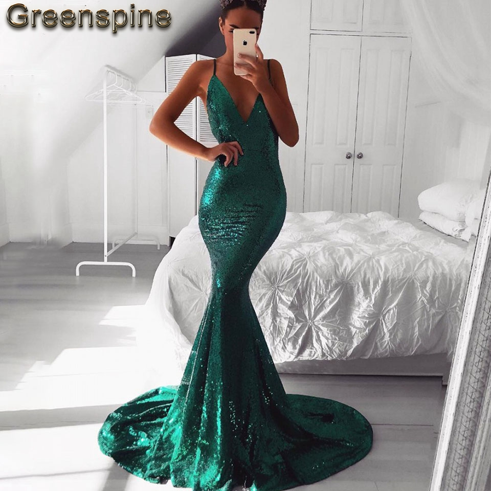 Emerald Green Sparkly Prom Dress