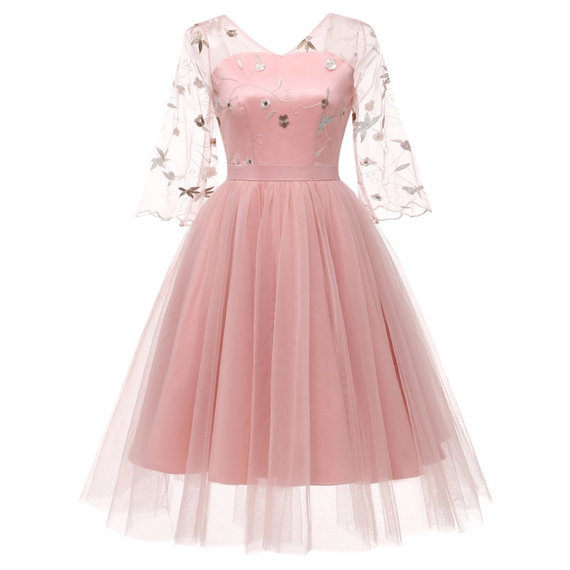 Embroidery Lace   Prom     Dress   A Line V-neck 3/4-Length Sleeve Flare Sleeve Tea-Length Tulle   Prom     Dress   Cocktail Party   Dress