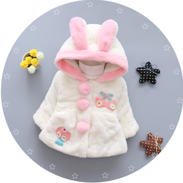 2016 nova outono e inverno casaco de lã do bebê tecido de algodão orelhas de coelho jaqueta corta-vento da marca crianças 1-4 anos de idade livre grátis