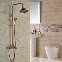 Luxus Doppelknauf Messing Antik Dusche Wasserhahn Set Wasserhahn Wandmontage Dusche Wasserhähne mit Handbrause