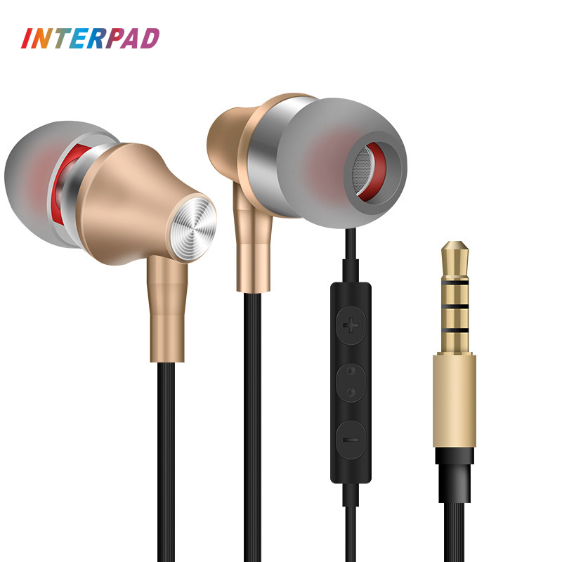2017 Interpad E5 3D Stereo In Ear Earphone With Mic Wire Remote Control Headset For iPhone 5 6 Xiaomi Huawei Computer Earphones em290 copper wire earphone in ear with mic clear 3d sound quality handsfree call for android ios smartphone oppo xiaomi mp3 pc