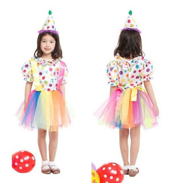 9a20b2b514 Fantasia stage desempenho jogo dress dia engraçado palhaço do traje da  menina das crianças crianças cosplay